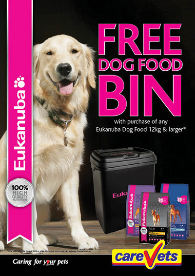 FREE Dog Food Bin with any purchase of Eukanuba Dog Food 12kg or larger
