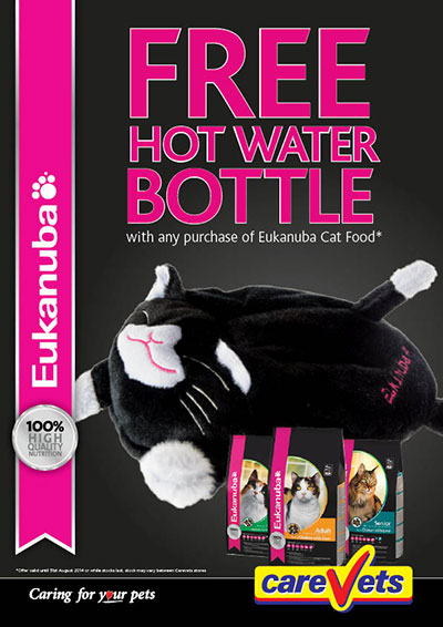 FREE Hot Water Bottle with any purchase of Eukanuba Cat Food.