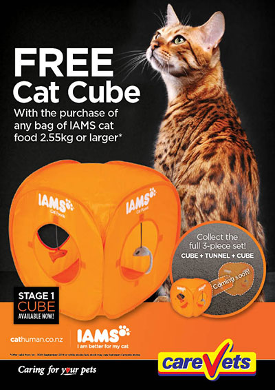 FREE Cat Cube with any purchase of Iams Cat Food 2.55kg or larger.