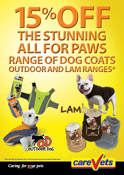 15% OFF the stunning All For Paws range of Outdoor Dog coats and Lam ranges.