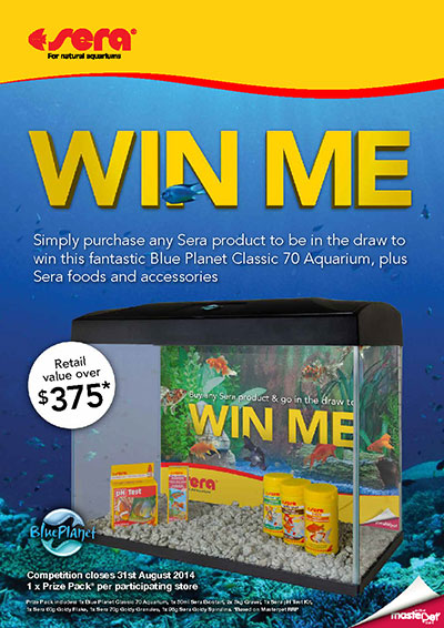 WIN a Blue Planet Classic 70 Aquarium, plus Sera foods and accessories. Simple purchase any Sera product to enter.