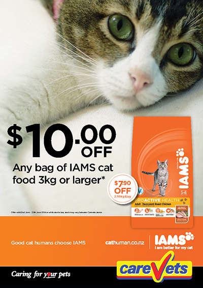 Iams cat food 3kg or larger $10 off