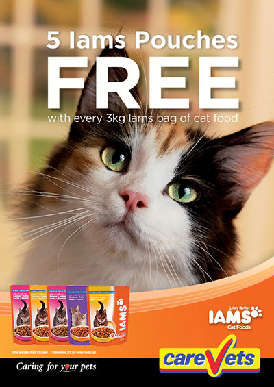 5 Iams Pouches FREE with every 3kg bag of cat food