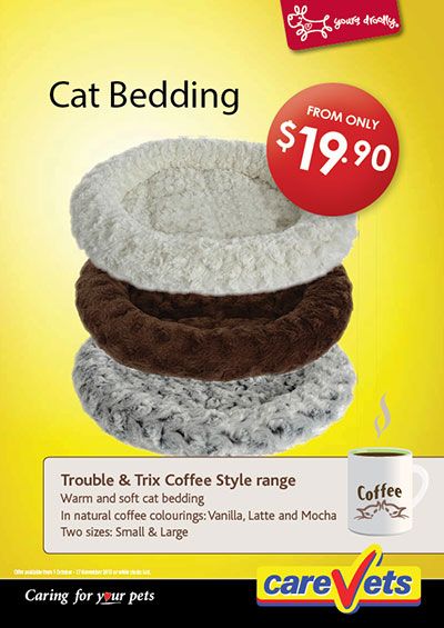 Warm and soft cat bedding in Vanilla, Latte and Mocha colours, small and large sizes