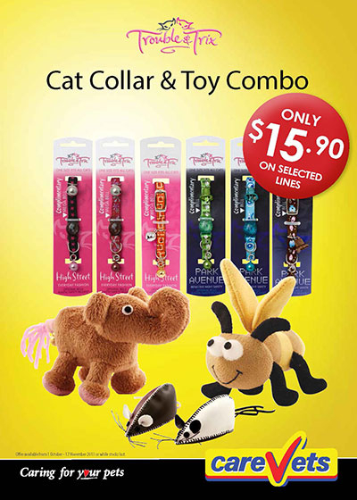 Trouble and Trix Cat Collar and Toy Combo
