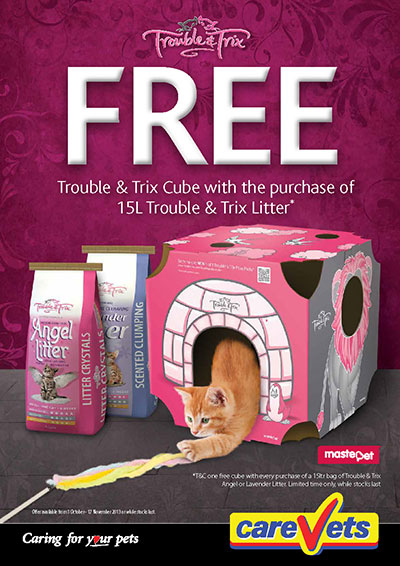 Cat Cube with 15ltrs of Trouble and Trix Cat Litter